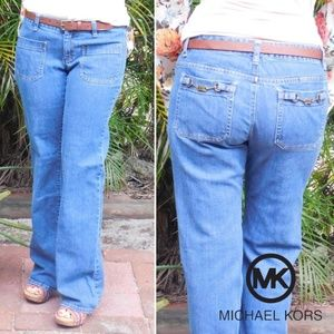 Michael Kors Flare Leg Jeans with Accent Pockets